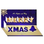 Merry Christmas 3D Card Blue - Merry Xmas 3D Greeting Card (8x4)