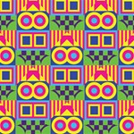 Colorful shapes in rhombus pattern