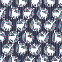 geometric deer retro pattern