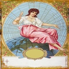 vintage art collage lady fabrics