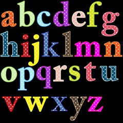 alphabet letters colorful polka dots in lower case