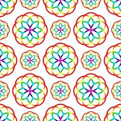 geometric circles seamless rainbow colors pattern on white background