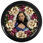 Roses and lace Wall clock (Black)