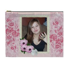 Pink Floral Boarder Cosmetic Bag (xl) By Kim Blair   Cosmetic Bag (xl)   Dm5why8ulv1b   Www Artscow Com Front