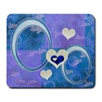I Heart You blue large Mousepad