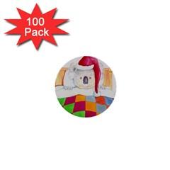 Santa In Bed  100 Pack Mini Button (round) by Koalasandkangasplus