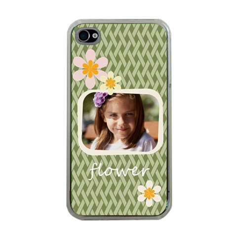 Flower , Kids, Happy, Fun, Green By Joely   Apple Iphone 4 Case (clear)   Dbe9japlckb1   Www Artscow Com Front