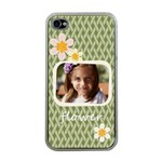 flower , kids, happy, fun, green - Apple iPhone 4 Case (Clear)