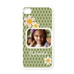 flower , kids, happy, fun, green - Apple iPhone 4 Case (White)