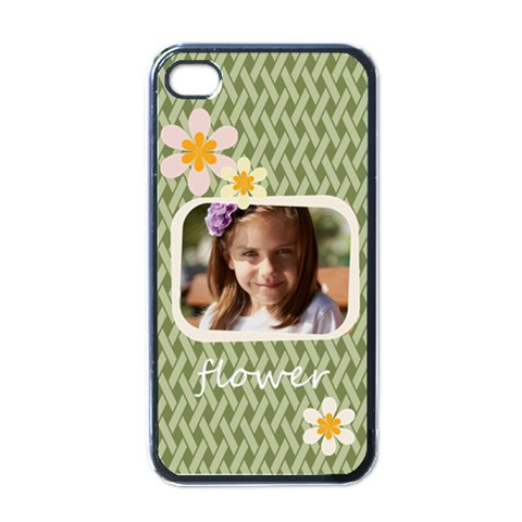 Flower , Kids, Happy, Fun, Green By Joely   Apple Iphone 4 Case (black)   Qhgshhb4608o   Www Artscow Com Front