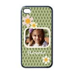 flower , kids, happy, fun, green - Apple iPhone 4 Case (Black)