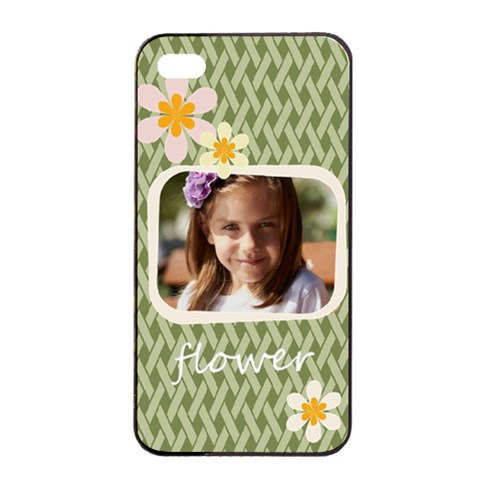 Flower , Kids, Happy, Fun, Green By Joely   Apple Iphone 4/4s Seamless Case (black)   Jpau4kndywf4   Www Artscow Com Front