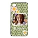 flower , kids, happy, fun, green - Apple iPhone 4/4s Seamless Case (Black)