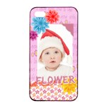 flower, kids , happy - Apple iPhone 4/4s Seamless Case (Black)