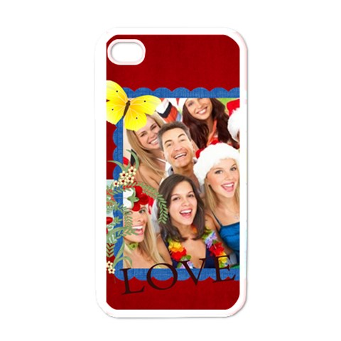 Love, Heart, Happy ,red  By Mac Book   Apple Iphone 4 Case (white)   E5ebbnpv4esb   Www Artscow Com Front
