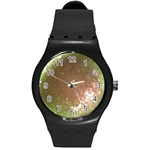 gray bling bling  watch (WITH OR WITHOUT YOUR PHOTO) - Round Plastic Sport Watch Medium