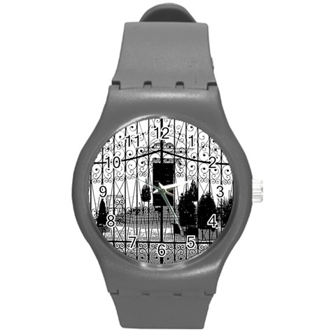 The Gate Watch By Riksu   Round Plastic Sport Watch (m)   7e0guh0jeoax   Www Artscow Com Front