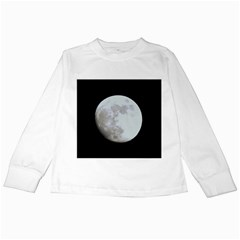 Moon White Long Sleeve Kids'' T Shirt by LigerTees