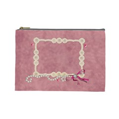 Pearls And Lace By Zornitza   Cosmetic Bag (large)   Kshtt6qacqca   Www Artscow Com Front