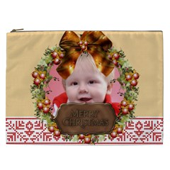 Merry Christmas, Xmas, Happy New Year  By Man   Cosmetic Bag (xxl)   Pn7su0crvnbe   Www Artscow Com Front