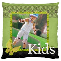 Kids , Flower , Happy, Fun By Man   Large Cushion Case (two Sides)   72ftksawt12k   Www Artscow Com Back