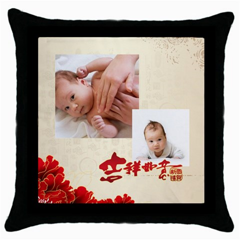 Chinese New Year By Gigi   Throw Pillow Case (black)   Eu4f4ushk1da   Www Artscow Com Front