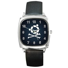 Ubuntu Bone Black Leather Watch (square)