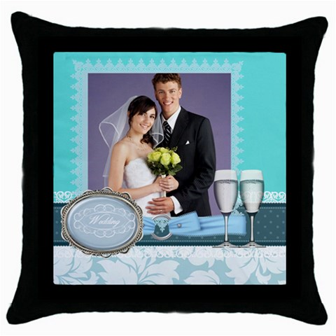Wedding Of Blue By Paula Green   Throw Pillow Case (black)   2sdzdlrtsu4t   Www Artscow Com Front