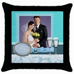 wedding of blue - Throw Pillow Case (Black)