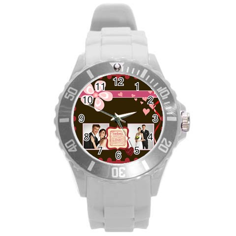 Love,memory, Happy, Fun  By Jacob   Round Plastic Sport Watch (l)   V9gtip58awll   Www Artscow Com Front