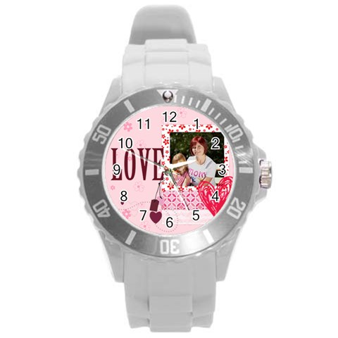Love,memory, Happy, Fun  By Jacob   Round Plastic Sport Watch (l)   Zuk15ajsjqko   Www Artscow Com Front