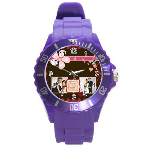 Love,memory, Happy, Fun  By Jacob   Round Plastic Sport Watch (l)   H76zdd85osw4   Www Artscow Com Front