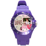 love,memory, happy, fun  - Round Plastic Sport Watch (L)