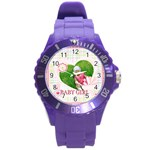 kids , flower , happy, fun - Round Plastic Sport Watch Large