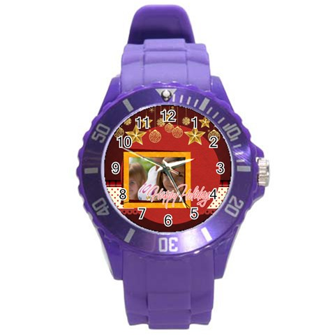 Merry Christmas By Jacob   Round Plastic Sport Watch (l)   Zb0awyc9z98x   Www Artscow Com Front