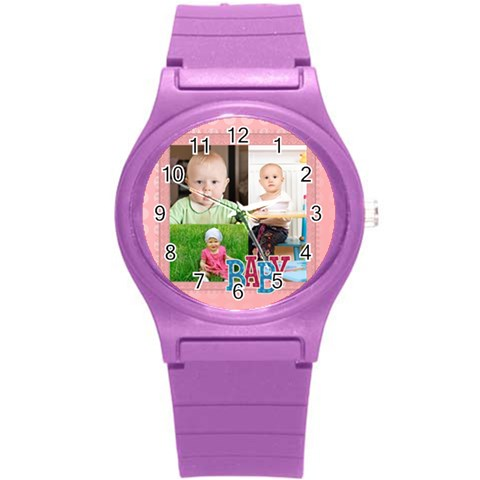 Love, Kids, Happy, Fun, Family, Holiday By Jacob   Round Plastic Sport Watch (s)   Y8umd4b3yekq   Www Artscow Com Front
