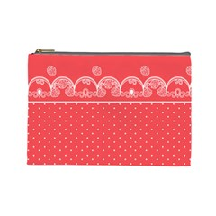 Lace White Dots White With Rose Large Makeup Purse