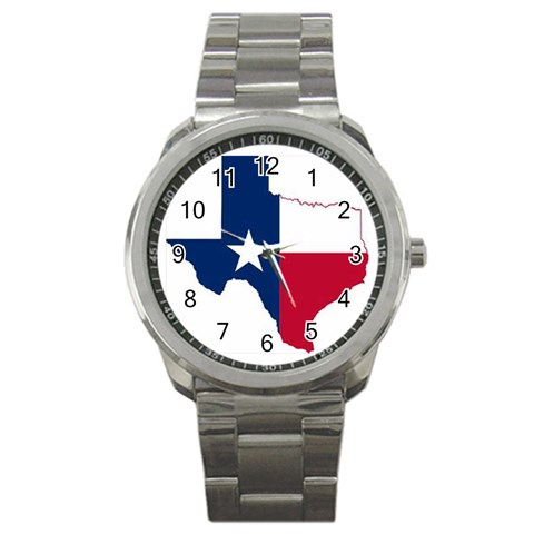 Texas Flag By Marilyn Brando   Sport Metal Watch   S1nty1im2pgg   Www Artscow Com Front