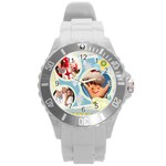 kids , flower , happy, fun - Round Plastic Sport Watch (L)
