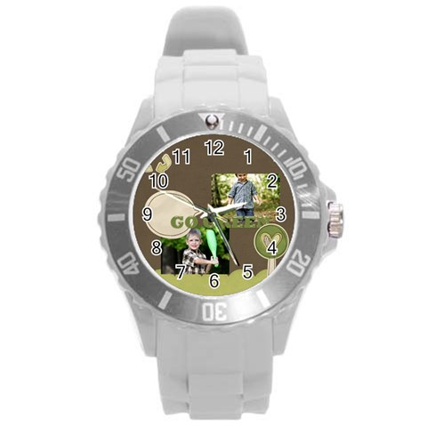 Green Of Kids By Angena Jolin   Round Plastic Sport Watch (l)   1jusq1jbrg3b   Www Artscow Com Front