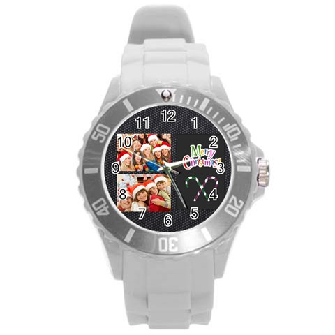 Merry Christmas, Xmas, Happy New Year  By Angena Jolin   Round Plastic Sport Watch (l)   A8p6u2mud16g   Www Artscow Com Front