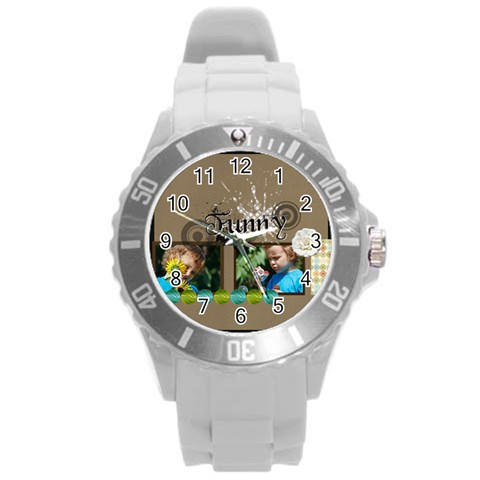 Love, Kids, Happy, Fun, Family, Holiday By Jacob   Round Plastic Sport Watch (l)   M8a1hx5j1wvo   Www Artscow Com Front