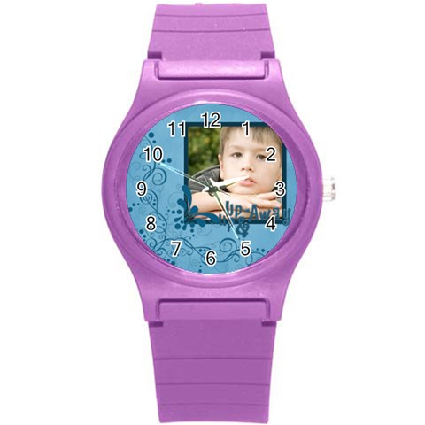Love, Kids, Happy, Fun, Family, Holiday By Jacob   Round Plastic Sport Watch (s)   Flj9p4dpbs8o   Www Artscow Com Front