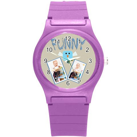 Love, Kids, Happy, Fun, Family, Holiday By Jacob   Round Plastic Sport Watch (s)   O3atbeve0tm5   Www Artscow Com Front
