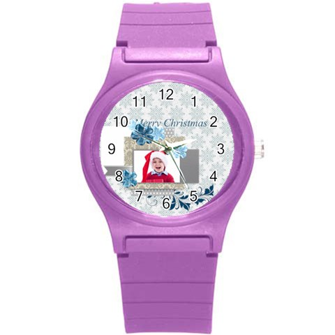 Love, Kids, Happy, Fun, Family, Holiday By Jacob   Round Plastic Sport Watch (s)   X7wem93pgrzw   Www Artscow Com Front