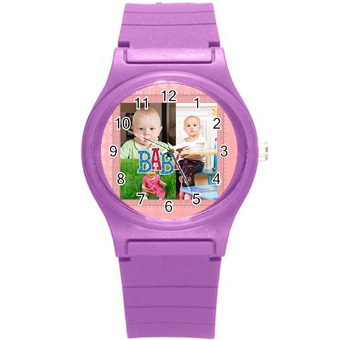 Love, Kids, Happy, Fun, Family, Holiday By Jacob   Round Plastic Sport Watch (s)   Qwpr653ne0wv   Www Artscow Com Front