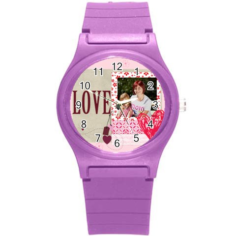 Love, Kids, Happy, Fun, Family, Holiday By Jacob   Round Plastic Sport Watch (s)   Njcb8nkfpp03   Www Artscow Com Front