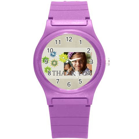 Love, Kids, Happy, Fun, Family, Holiday By Jacob   Round Plastic Sport Watch (s)   Utwb00wlo2pf   Www Artscow Com Front