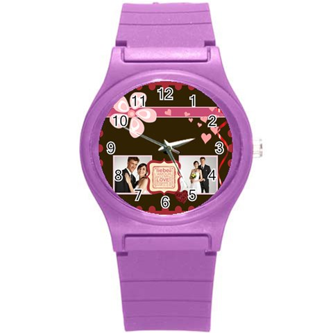 Love, Kids, Happy, Fun, Family, Holiday By Jacob   Round Plastic Sport Watch (s)   G59nr759f1lv   Www Artscow Com Front