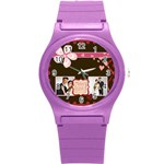 love, kids, happy, fun, family, holiday - Round Plastic Sport Watch Small